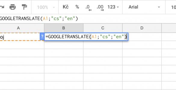 Automatické překlady v Google tabulkách