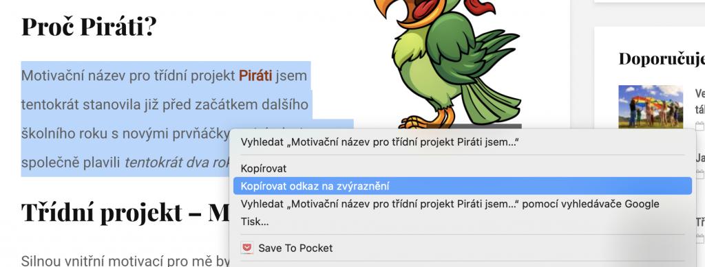 Webový odkaz přímo na konkrétní úryvek textu